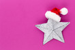 canvas print picture - Christmas star, decor on pastel colored background. Christmas or New Year minimal concept.