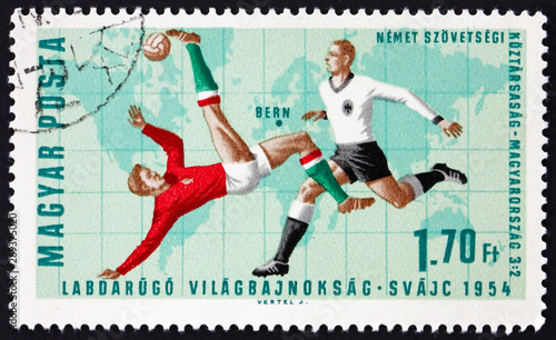 Photo  Postage stamp Hungary 1966 Soccer Play