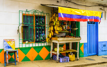 View On Shop Selling Fruits In The Colonial Village Of Colombia