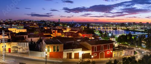 Panoramic view of Badajoz and Guadiana river, Extremadura, Spain.