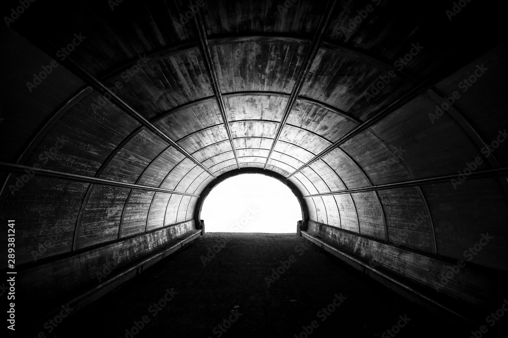 Fototapeta Dramatic black and white view of a large pedestrian tunnel lined with old wood planks on the surface of the arch