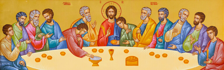 Vranov, Slovakia. 2019/8/22. Icon of the Last Supper. Chapel of the Convent of the Holy Trinity in Lomnica, Vranov nad Toplou, Slovakia.