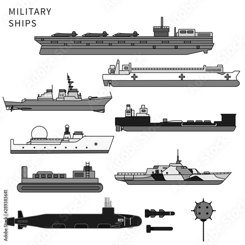 Photo Military ships, warship and battleship on white