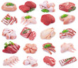 Collection of raw meat on white background