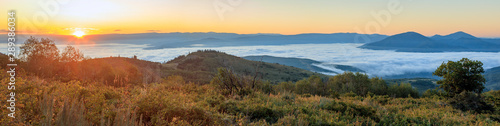 Poster Deep brown Morning fog panorama above Heber Valley, Utah, USA.