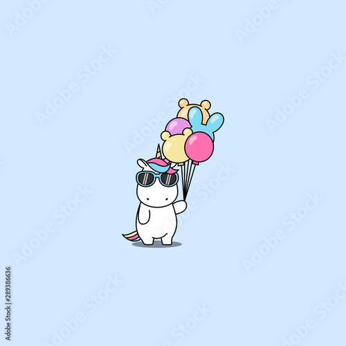 Foto op Aluminium Vogels in kooien Cute unicorn with sunglasses holding balloons, vector illustration