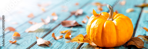 Fototapeta Autumn Background - Mini Pumpkin On Rustic Blue Table With Leaves And Sunlight obraz