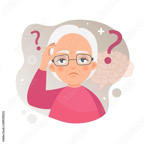 Photo Vector illustration of an old woman with Alzheimer's disease