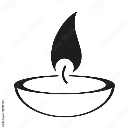 Obraz na plátně  burning candle on a white background