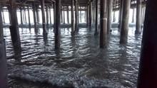 Waves Crashing Under The Santa Monica Pier