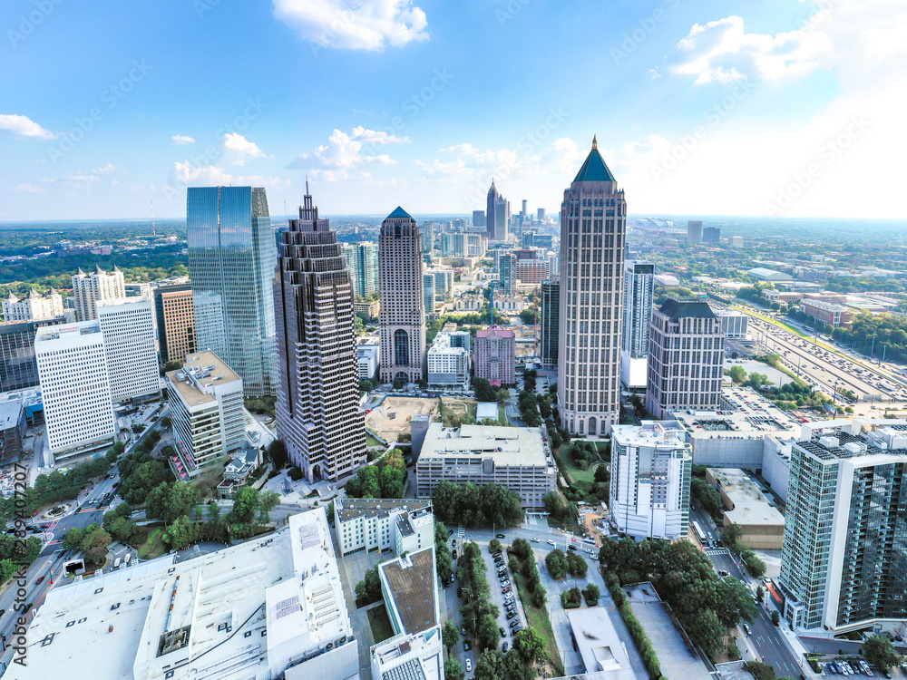 Fototapety, obrazy: Aerial/Helicopter Panoramic picture of downtown Atlanta Skyline