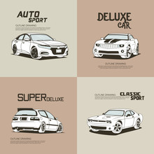 Retro Modification Car Design.Isolated Outline Drawing Vector Illustration.