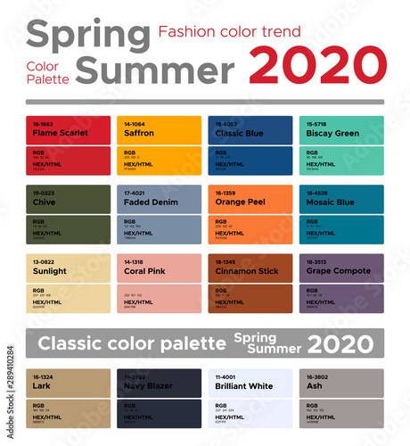 Color Trends For 2020.Fashion Color Trends Spring Summer 2020 And Classic Color