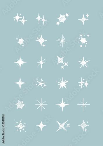 Obraz Vector set of white sparkles. Collection of star sparkles symbol. Design on light blue background. - fototapety do salonu