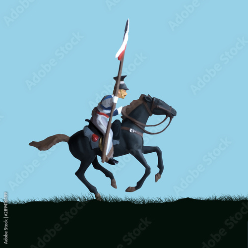 Obraz na płótnie 1800's Crimean war, British cavalry on a horse charging