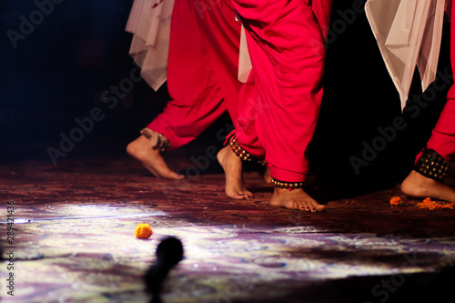 indian classical dance form in feet with musical anklet with selective focus and Canvas Print