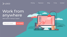 Work From Home Tiny Person Vector Illustration Landing Page Template Design