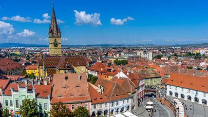Piata Mare Large square in Sibiu, Romania.