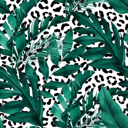 tropikalny-wzor-z-egzotycznych-monstera-bananow-i-lisci-palmowych-na-bialym-tle