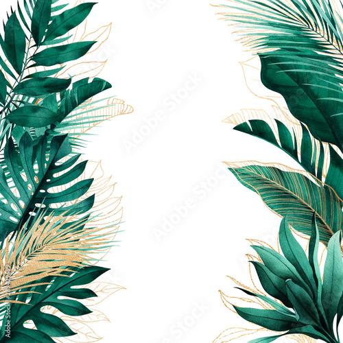 tropikalne-tlo-z-bocznymi-granicami-egzotycznych-lisci-i-zlotymi-konturami-kwadratowa-ramka-z-miejscem-na-tekst