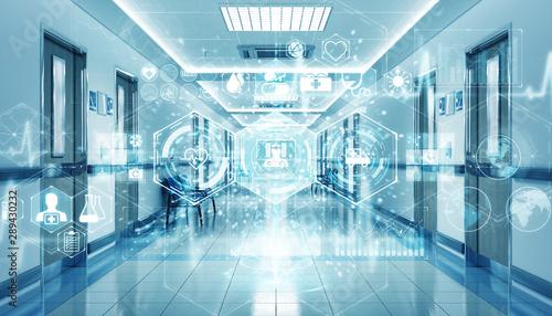 Carta da parati Hospital blue corridor with digital medical infographics and charts 3D rendering