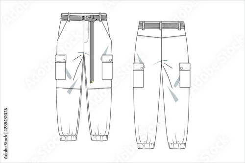 drawn fashion Decorative trousers, clothing, Vector illustration in old ink style for girl kids