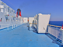 Ship Ferry Deck And Red Funnel...