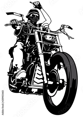 Poster Motorcycle Biker From Gang - Black and White Outline Illustration with Rider on Motorcycle, Vector