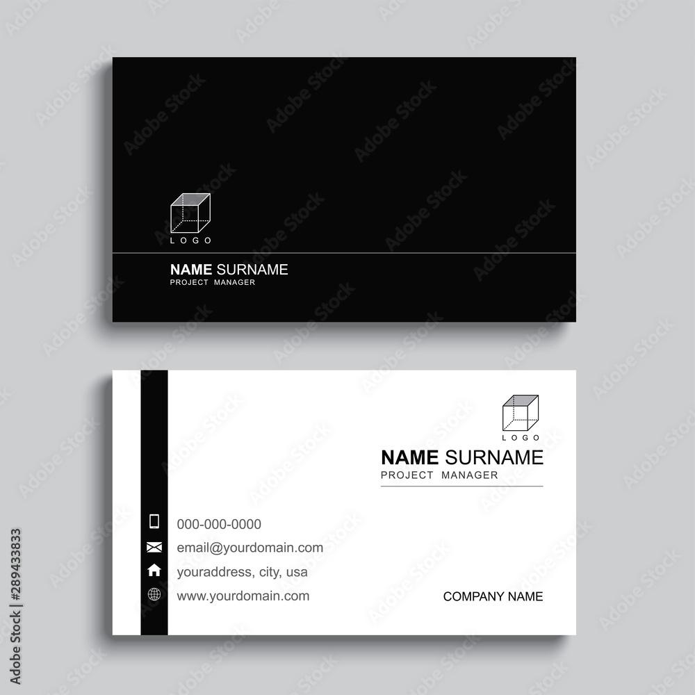 Fototapeta Minimal business card print template design. Black color and simple clean layout.