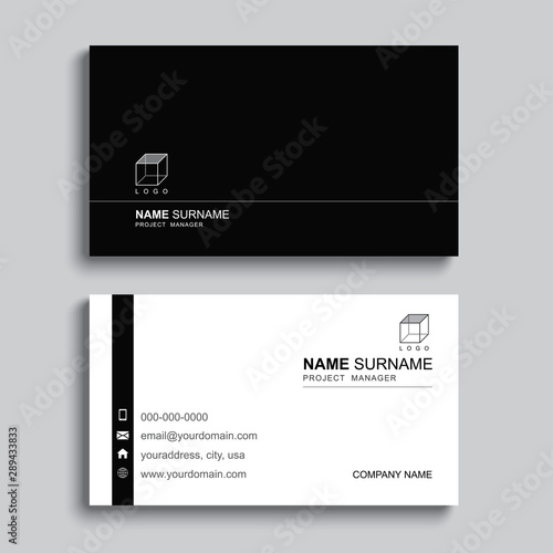 Obraz Minimal business card print template design. Black color and simple clean layout. - fototapety do salonu