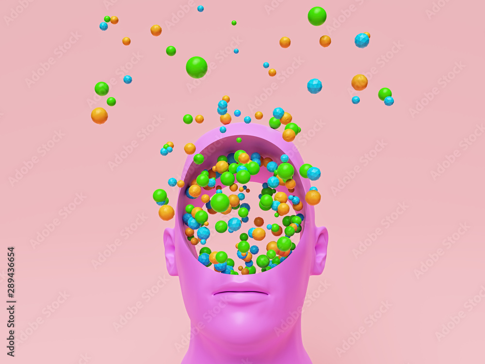 Fototapeta Concept art of colorful creative Imagination. pink head with a round hole and many multicolored balls. 3d rendering