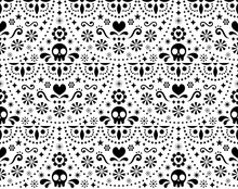 Mexican Folk Art Vector Seamless Pattern With Skulls, Halloween Decor, Flowers And Abstract Shapes, Black And White Textile Design