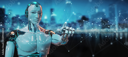 White robot using floating digital network connections with dots and lines 3D re Wallpaper Mural