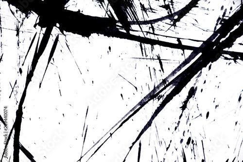 Fototapety, obrazy:  japan black ink style splatter stroke paint brush paint paper texture isolated on white background.