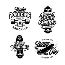 Skateboarding T-shirt Design Set. Vector Vintage Illustration.