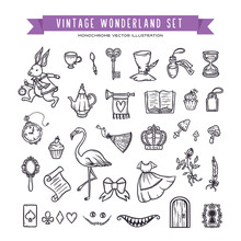Wonderland Hand Drawn Set Of D...