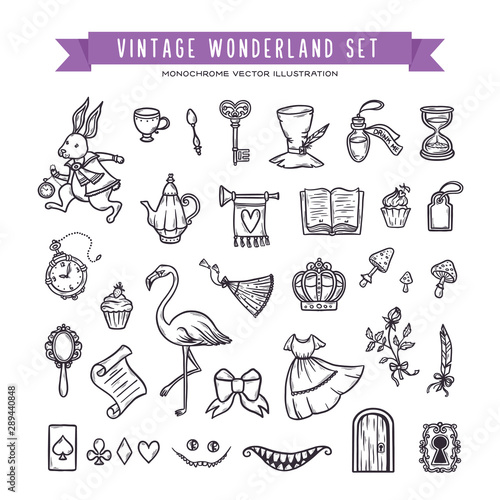 Wonderland hand drawn set of design elements Canvas Print