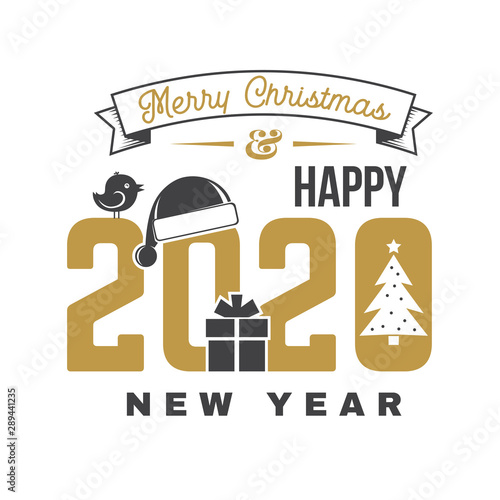Merry Christmas and 2020 Happy New Year sticker with christmas