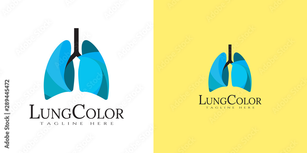 Fototapeta Human lung logo with line art design. healthy respiratory system, healthcare and medical icon for apps or website