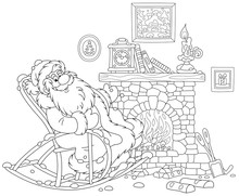Santa Claus Sitting In His Creaking Rocking Chair And Basking By An Old Fireplace With A Mantel Clock After A Winter Walk Through A Snowy Forest, Black And White Vector Illustration In A Cartoon Style