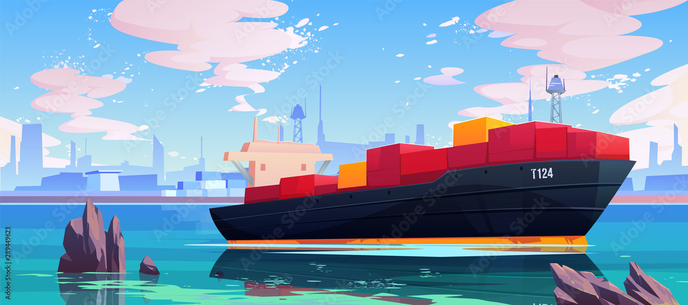 Fototapety, obrazy: Cargo ship in sea port dock, industrial vessel with containers freight in harbor shipyard, goods import and export maritime logistic service Commercial ocean transportation Cartoon vector illustration