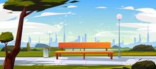 Bench In Park, Summer Time Lan...