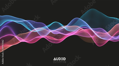 Vector 3d echo audio wavefrom spectrum Wallpaper Mural