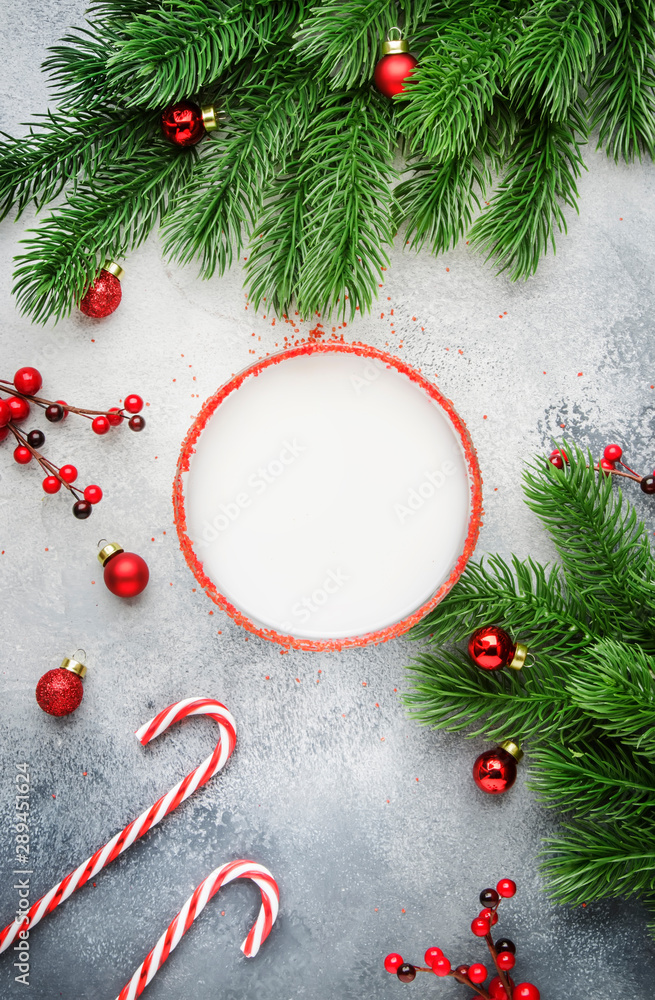 Fototapety, obrazy: Snow margarita, Christmas or New Year's alcoholic cocktail with rum and cream with red decor in a stylish setting, place for text, top view