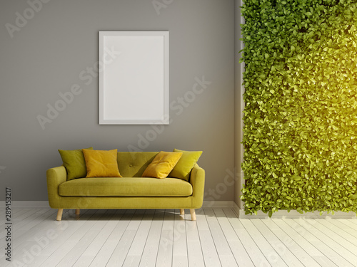 Room with green vertical gardens