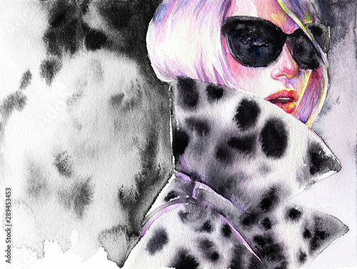 Beautiful woman. fashion watercolor illustration
