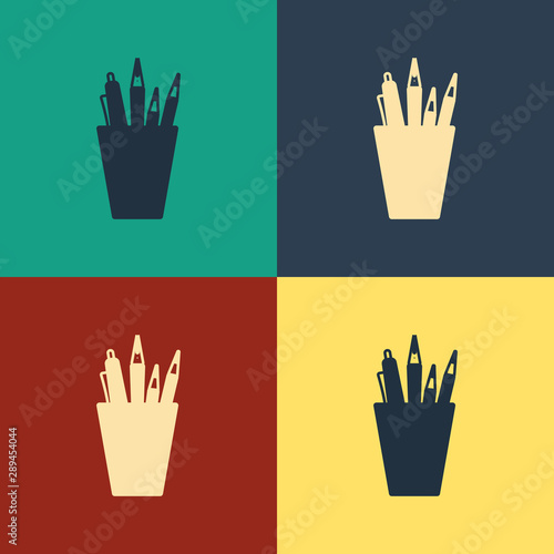 Fototapeta  Color Pencil case stationery icon isolated on color background
