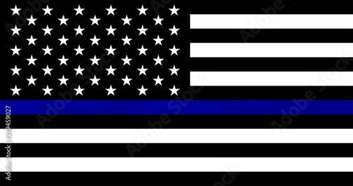 Pinturas sobre lienzo  American flag with police support symbol, Thin blue line