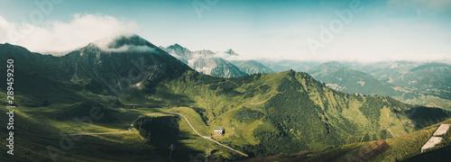 Photo  Panoramablick von der Kanzelwand Bergstation Richtung Oberstdorfer Hammerspitze,