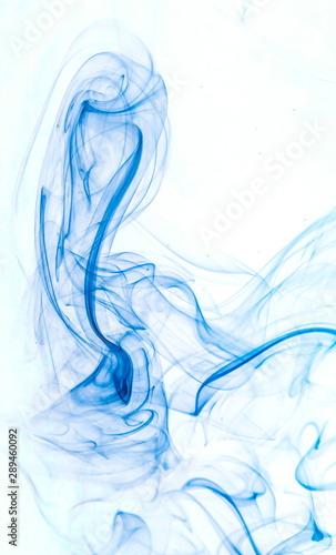 Fotografie, Obraz  Blue smoke on white background